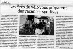 24 Juillet : Les Fées du vélo vous préparent des vacances sportives - Publié dans le Petit Bleu et la Dépêche du Midi